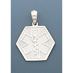 14K WHITE GOLD MEDICAL ID PENDANT