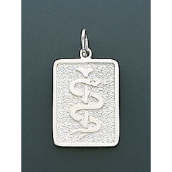 14K WHITE GOLD SQUARE MEDICAL PENDANT