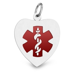 14K WHITE GOLD ENAMELED MEDICAL ID HEART PENDANT