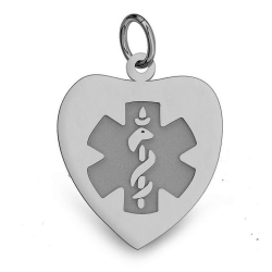 STAINLESS STEEL HEART MEDICAL ID PENDANT