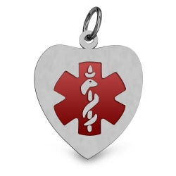 STAINLESS STEEL ENAMELED HEART MEDICAL ID PENDANT