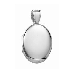 14k White Gold Premium Weight Oval Locket