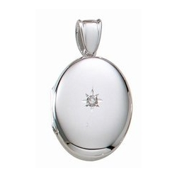 14k White Gold Premium Weight Oval Picture Locket With Genuine Diamond