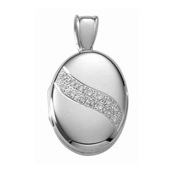 14k White Gold Premium Weight Oval Picture Locket with Diamonds