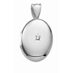 14k White Gold Premium Weight Oval Locket with Diamond