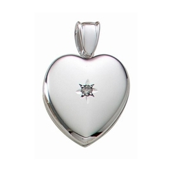 14k White Gold Premium Weight Heart Locket with Center Diamond