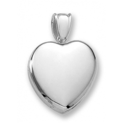 14k White Gold Premium Weight Heart Picture Locket