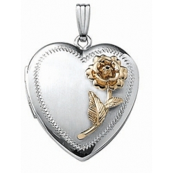 14k White Gold Two Tone Heart Locket