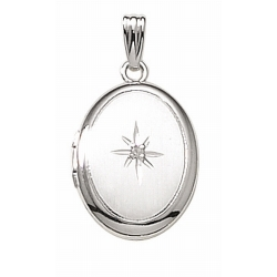 14k White Gold Oval Locket w  Diamond