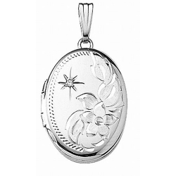 14k White Gold Engraved w Diamond Oval Locket