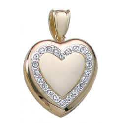 Solid 14K Yellow Gold Premium Weight Diamond Locket