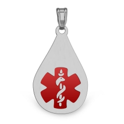 STAINLESS STEEL Medical Tear Drop Pendant W  Red Enamel