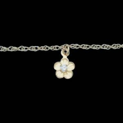 14K Yellow Gold Child Flower Bracelet W Cubic Zirconia