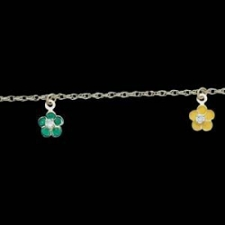 4K Yellow Gold Child s Enamel Flower Bracelet W CZ