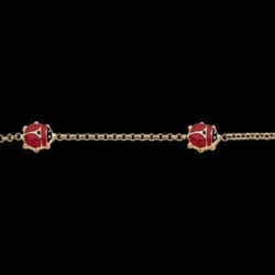 14K Yellow Gold 6 Red Enamel LadyBug Bracelet