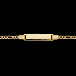 14K Yellow Gold 6 Rectangle I D Figaro Bracelet