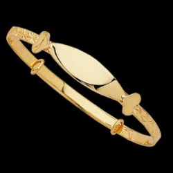 14K  Yellow Gold Adjustable ID Bracelet With Heart