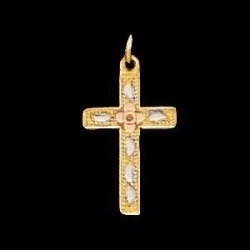 14K Yellow Gold Children s Tri Color Cross Pendant