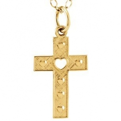 14K Yellow Gold Children s Cross W Heart Pendant