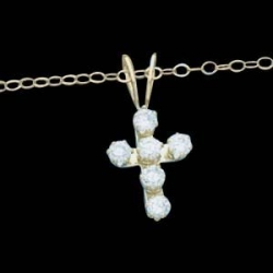 14K Yellow Gold CZ Child Cross Pendant With 15 Chain
