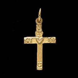 14K Yellow Gold Child s Cross W Heart Pendant