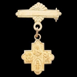 14K Yellow Gold 4 Way Cross Baptismal Pin
