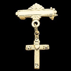 14K Yellow Gold Cross W Heart Baptismal Pin