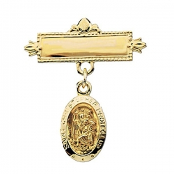 14K Yellow Gold St Crhristopher Baptismal Pin