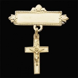 14K Yellow Gold Crucufix Baptismal Pin