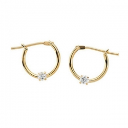 14K Yellow Gold or White Gold Children s Hoop Earring W CZ