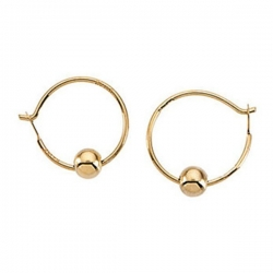 14K Yellow Gold Children s Hoop Earring W Beads