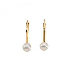 14K Yellow Gold Children s LeverBack Earring W Pearl