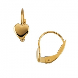 14K Yellow Gold Children LeverBack Earring W Heart
