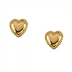 14K Yellow Gold Children Heart Earring