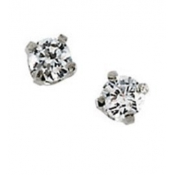 14K Yellow or White Gold Children s Cubic Zirconia Earrings