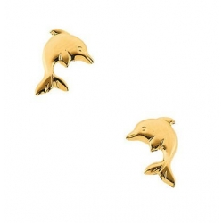 14K Yellow or White Gold Children s Dolphin Earring