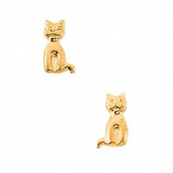 14K Yellow Gold Children s Cat Earring