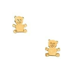 14K Yellow Gold Children s Teddy Bear Earring