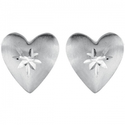 14K Yellow Gold Children s Puffed Diamond cut Heart Earrig