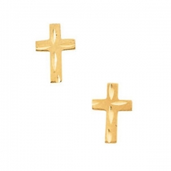 14K Yellow Gold Children s Diamond Cut Earring