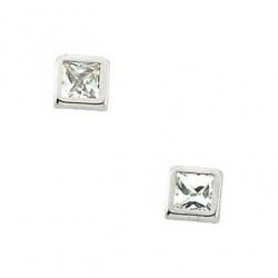 14K Yellow Gold Children s Square Cubic Zirconia Earring