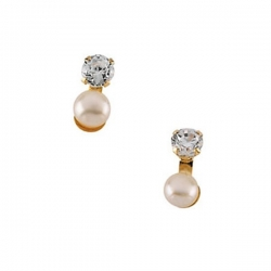 14K Yellow Gold Children s Button Earring W Pearl And CZ