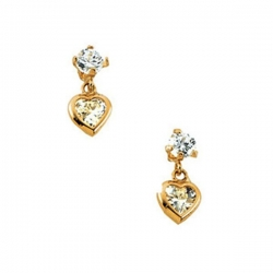 14K Yellow Gold Children s Heart Cubic Zirconia Dangle Earring