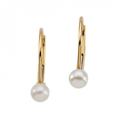 14K Yellow Gold Children s Cultured Pearl Earring