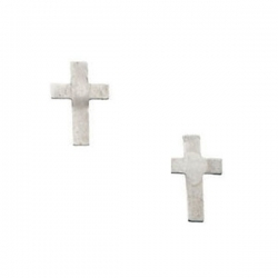 14K White Children s Cross Earring