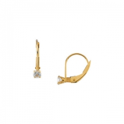 14K Yellow Gold Children s LeverBack Imitation BirthStone Earring