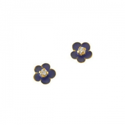 14K Yellow Gold Children s Flower Enamel Earring W Cubic Zirconia