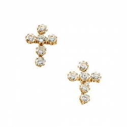 14K Yellow Gold Children s Cross Earring W Cubic Zirconia