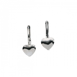 14K White Gold Children s Heart LeverBack Earring