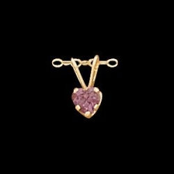 14K Yellow Gold Children s Heart W Amethyst Stone Pendant